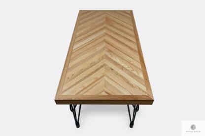 Stół z drewna litego blat jodełka do salonu jadalni IFUX