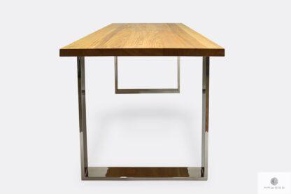 Stół z drewna litego metalu do salonu jadalni SILVERADO