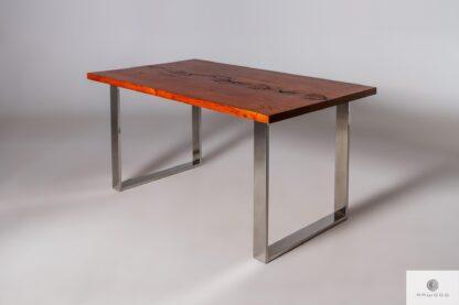 Stół z drewna litego i stali chromowanej do salonu biura SILVERADO