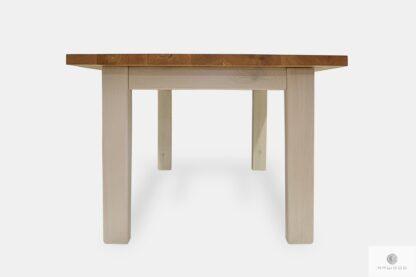 Stół z drewnianymi nogami do jadalni kuchni BIANCO