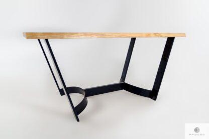 Stół z litego drewna jesionowego z metalowymi nogami FOSTER