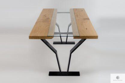Stół z litego drewna na metalowych nogach do jadalni ARCO
