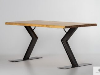 Stół z litym drewnianym blatem i metalowymi nogami ABRYS