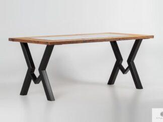 Stół ze starego drewna ze szkłem do jadalni OLBERO II