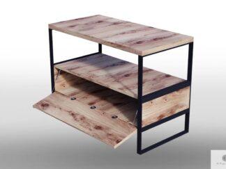 Szafka RTV dębowa industrialna z drewna litego do salonu IBSEN