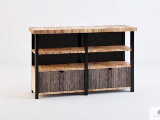 Szafka RTV z drewna litego z szufladami półkami do salonu COLIN