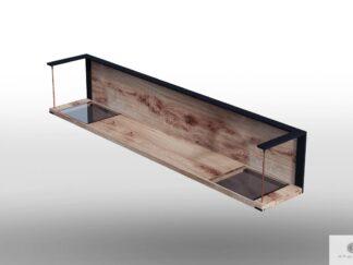 Wisząca półka loft z drewna dębowego i szkła do salonu IBSEN