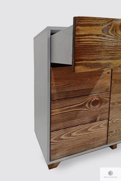 Nowoczesna drewniana komoda fronty ze starego drewna litego BERGEN Producent Mebli RaWood Premium Furniture