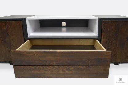 Nowoczesna szafka pod TV drewniana z szufladami do salonu BERGEN