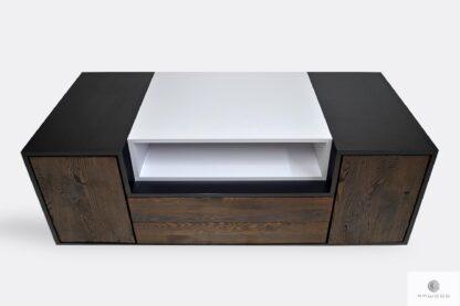 Nowoczesna szafka RTV pod telewizor drewniana z szufladami do salonu BERGEN