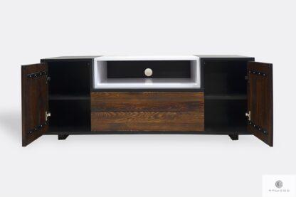 Szafka pod telewizor drewniana z szufladami do salonu BERGEN