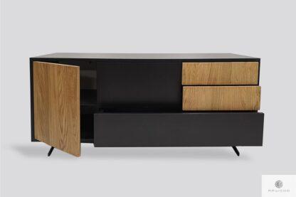 Nowoczesna drewniana szafka RTV do salonu, szafka pod telewizor z drewna litego CARLA Producent Mebli RaWood Premium Furniture