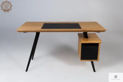 Designerskie biurko dębowe na metalowych nogach do biura VITA Producent Biurek Mebli RaWood Premium Furniture