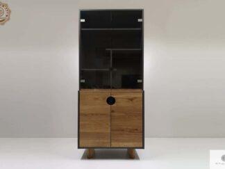 Drewniany slupek z polkami witryna do salonu pokoju GRAND Producent Mebli RaWood Premium Furniture
