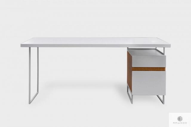 Białe biurko z kontenerkiem na metalowych nogach do biura DORIS