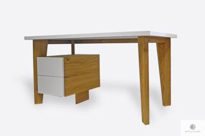 Białe biurko z litego drewna do gabinetu GRAND