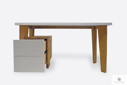 Białe drewniane biurko z szufladami do biura GRAND