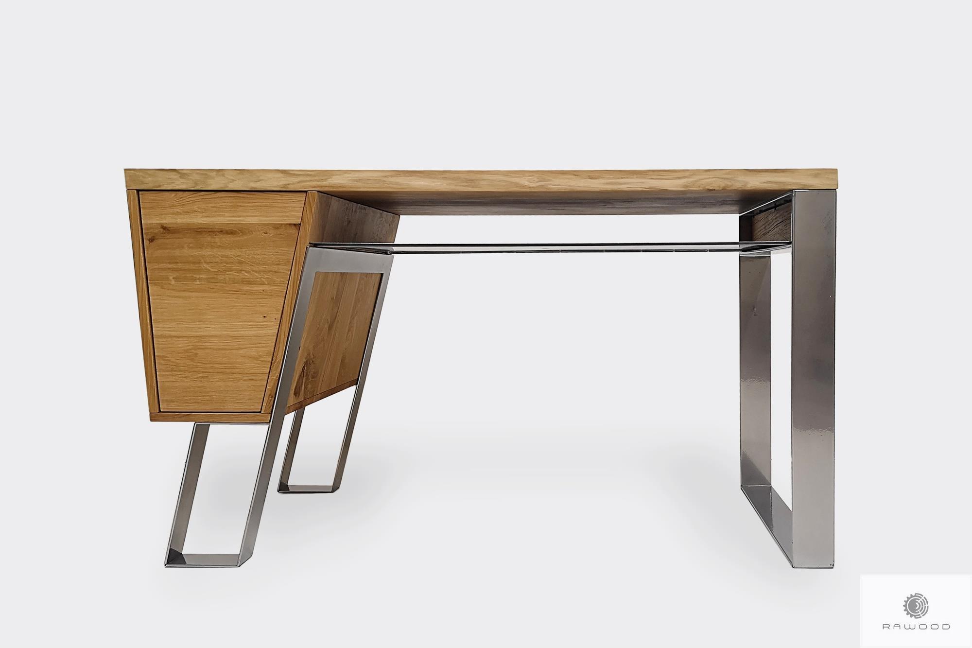 Biurko z dębowego drewna na metalowych nogach do gabinetu biura BORA