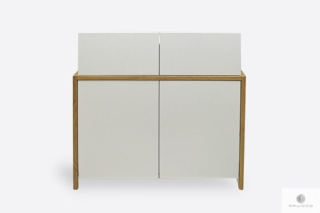 Designerska biała komoda z półkami szufladami BOSTON