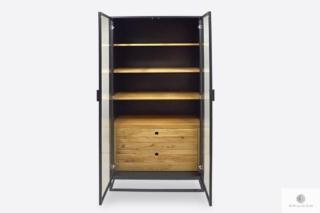 Designerska witryna z półkami szufladami do gabinetu CARLA