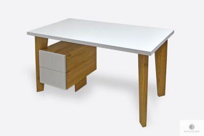 Designerskie biurko białe dębowe z szufladami GRAND
