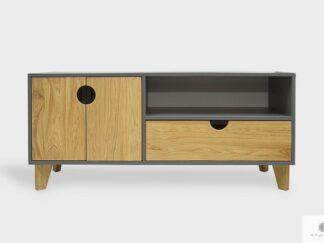 Elegancka szafka pod telewizor z drewna i płyty do salonu GRAND