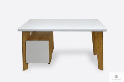 Nowoczesne biurko drewniane z kontenerkiem do gabinetu GRAND