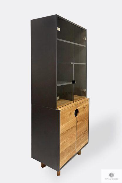 Witryna drewniana z półkami na wymiar do salonu GRAND
