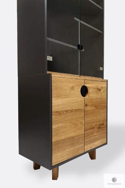 Witryna z półkami szafkami z dębowego drewna GRAND