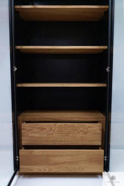 Witryna z półkami szufladami z drewna CARLA