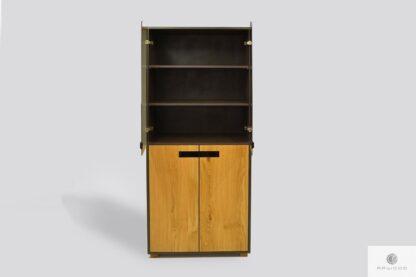 Duża witryna dębowa nowoczesna do salonu LAGOS Producent Mebli RaWood Premium Furniture
