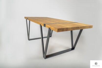 Industrialny stol z debowego drewna litego na metalowych nogach NERON find us on https://www.facebook.com/RaWoodpl/