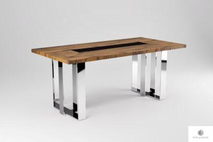 Dębowy stół z chromowanymi nogami MOCCA