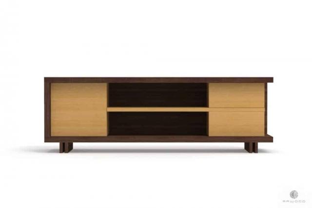 Szafka RTV z drewna i płyty do salonu NESTON Producent Mebli RaWood Premium Furniture