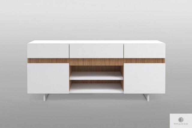 Szafka RTV nowoczesna biała na metalowych nogach lite drewno do salonu DORIS Producent Mebli RaWood Premium Furniture