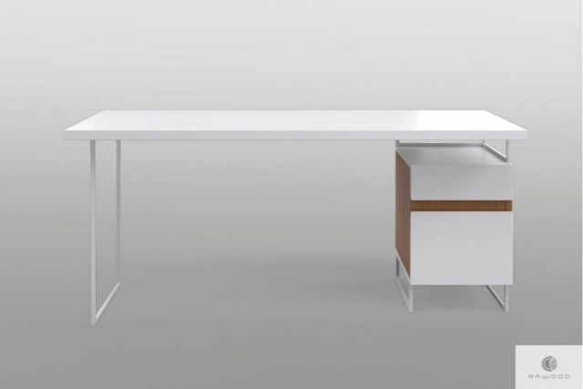 Białe biurko z kontenerkiem na metalowych nogach do biura DORIS Producent Mebli RaWood Premium Furniture