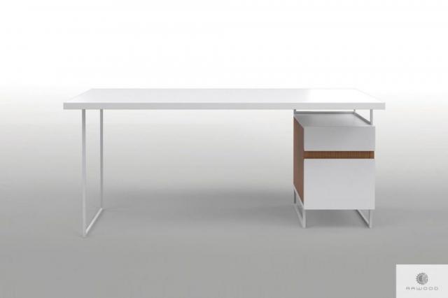 Nowoczesne biale biurko z drewnem litym na metalowych nogach DORIS find us on https://www.facebook.com/RaWoodpl/
