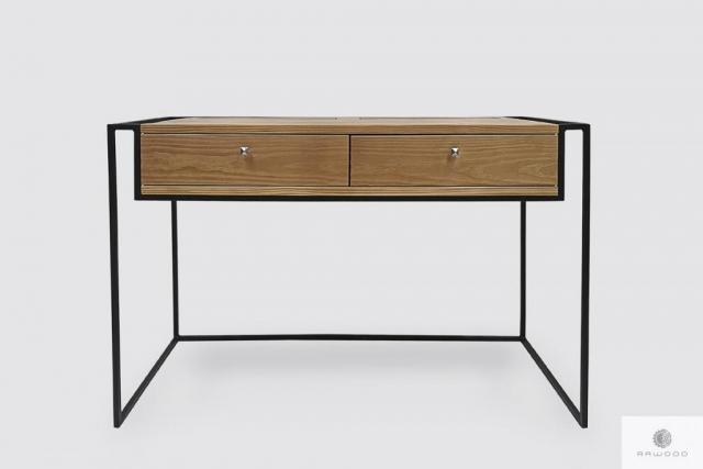 Industrialne biurko z drewna litego z szufladami do gabinetu