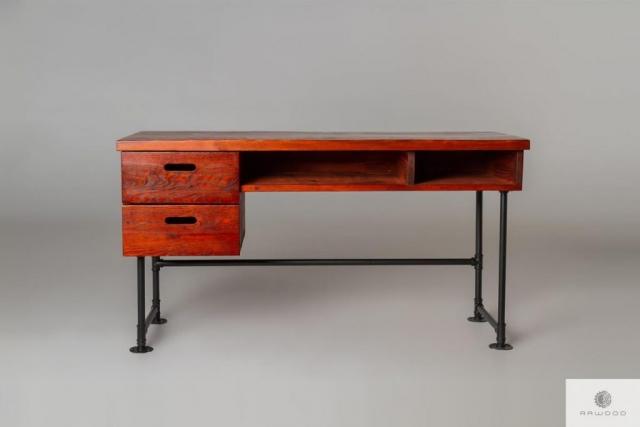 Mahoniowe biurko z drewna litego do pokoju gabinetu DENAR find us on https://www.facebook.com/RaWoodpl/