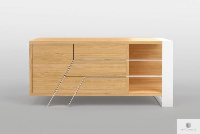 Szafka RTV dębowa nowoczesna na metalowych nogach do salonu BORA Producent Mebli RaWood Premium Furniture