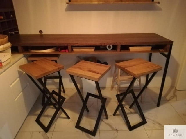 Hokery barowe drewniane do kuchni jadalni HUGON find us on https://www.facebook.com/RaWoodpl/