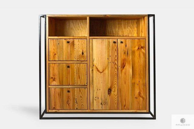 Industrialna komoda loft z drewna litego i metalu do salonu