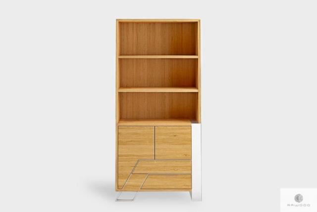 Regał na książki drewniany z szufladami do salonu sypialni BORA