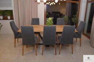 Stół z drewna dębowego na metalowej podstawie do jadalni salonu BORNEO