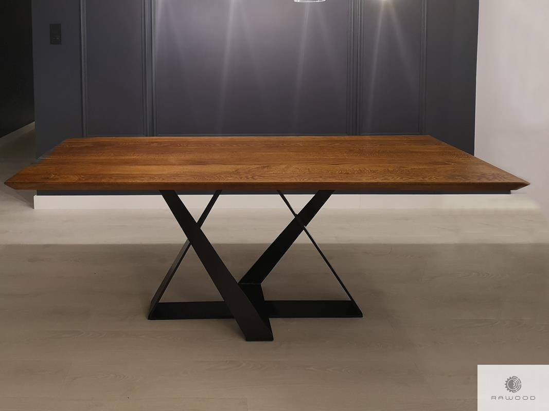 Stol z drewna debowego na metalowej podstawie do jadalni salonu BORNEO find us on https://www.facebook.com/RaWoodpl/