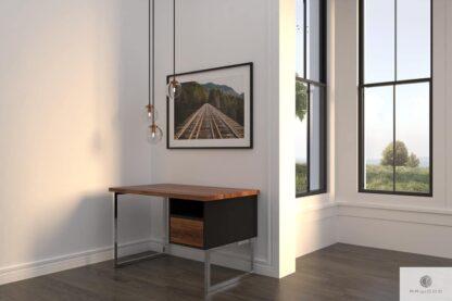 Drewniane biurko na metalowych chromowanych nogach do gabinetu NESCA II find us on https://www.facebook.com/RaWoodpl/