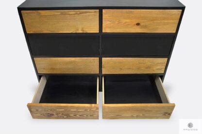 Drewniana komoda pojemna z szufladami do salonu NESCA II