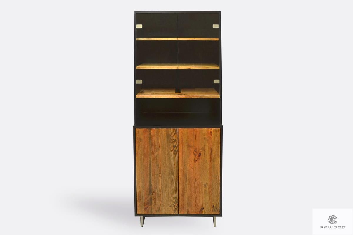 Elegancka witryna kredens z drewna litego ze szkłem do salonu NESCA II