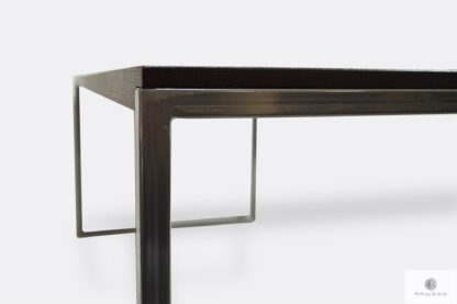 Stół z dębowym blatem i metalowymi nogami w kolorze chromowanym NESCA II