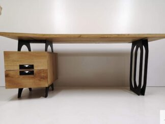 Biurko debowe z metalowymi nogami do gabinetu biura WALT Producent Mebli RaWood Furniture Manufacturer